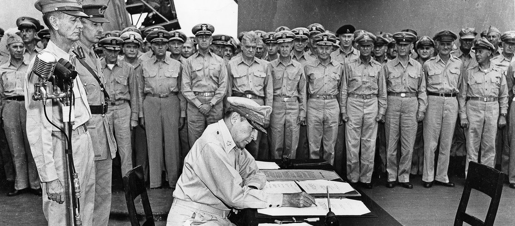 General Douglas MacArthur Signing Japanese Constitution