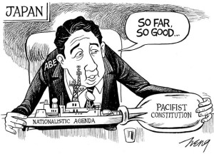 Abe Article 9 Political Cartoon