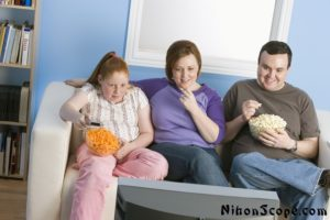 Obese American Family In Front of TV